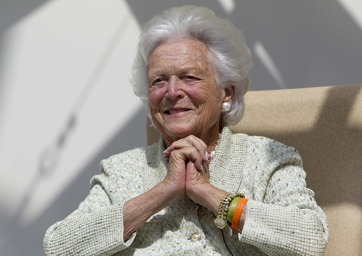 In a Thursday, Aug. 22, 2013, file photo, former first lady Barbara Bush listens to a patient's question during a visit to the Barbara Bush Children's Hospital at Maine Medical Center in Portland, Maine.