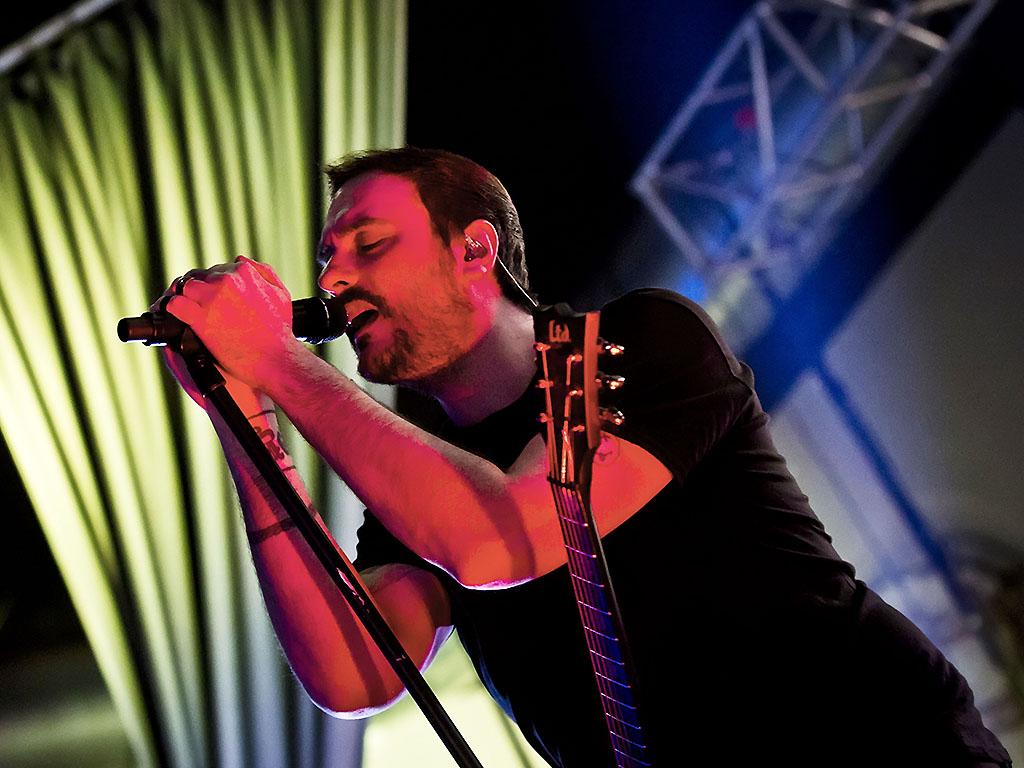 Benjamin Burnley of Breaking Benjamin performs live at the Huxleys on August 8, 2017 in Berlin, Germany.