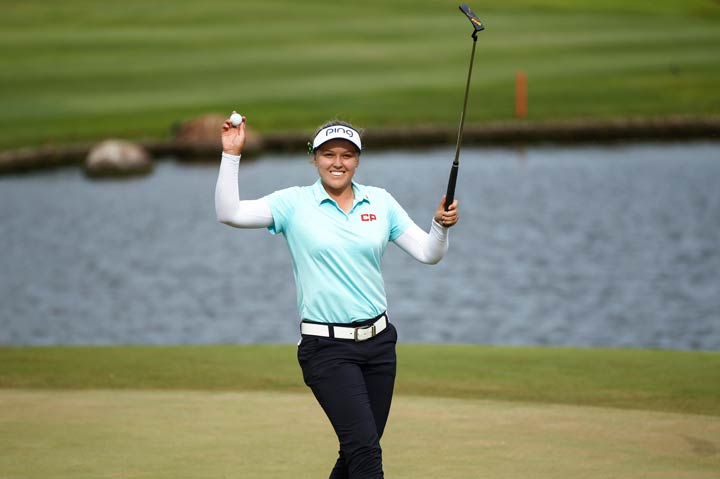 Brooke Henderson, of Canada, smiles after winning the LPGA Lotte Championship golf tournament Saturday, April 14, 2018, in Kapolei, Hawaii.