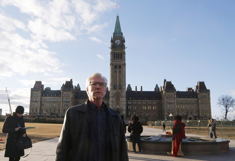 Minister of Natural Resources Jim Carr leaves Parliament Hill after speaking about the recent status of the Kinder Morgan pipeline expansion in Ottawa on Sunday, April 8, 2018.