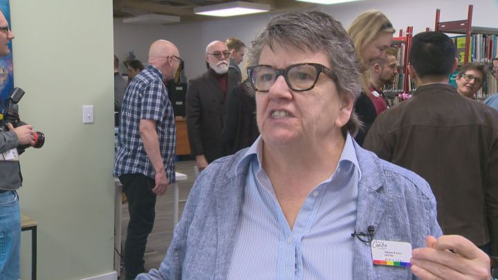 Debbie Bryson, the board chair of the Pride Centre of Edmonton, is seen at the centre's grand reopening on April 4, 2018.