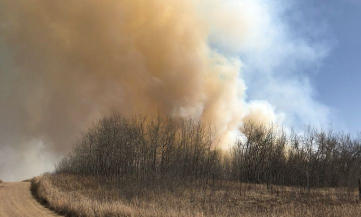 A photo of a wildfire taken from about 2 kilometres southeast of Edgerton, Alta. on April 27, 2018.