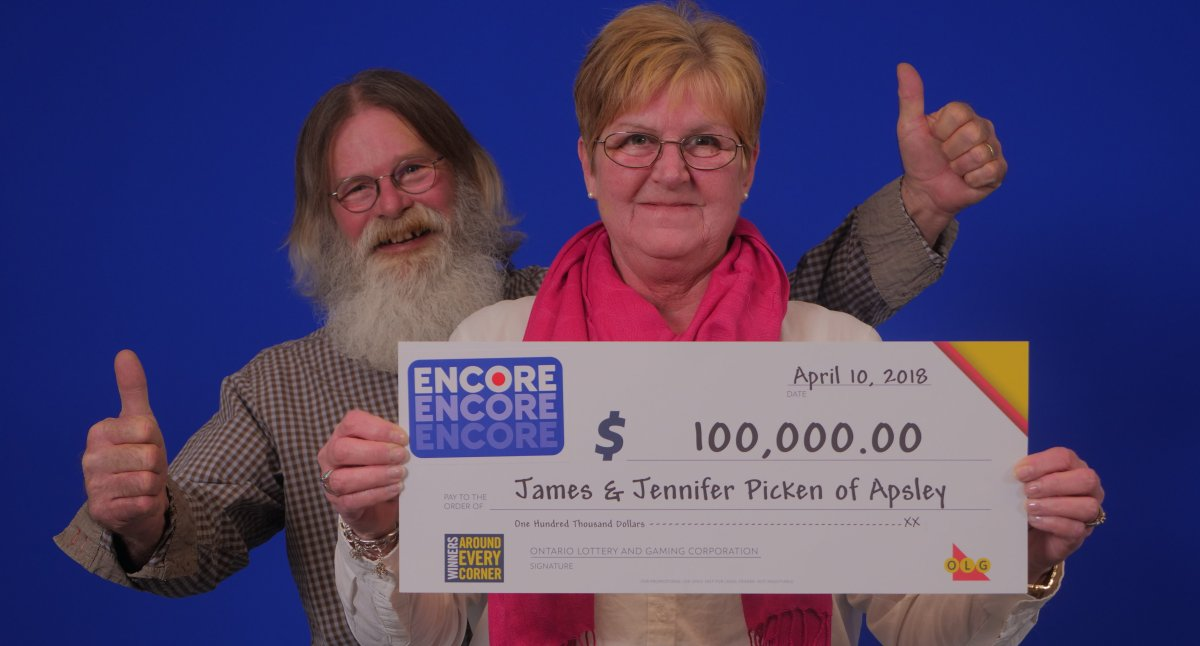 James and Jennifer Picken of Apsley won $100,000 with the Encore lottery draw in January.