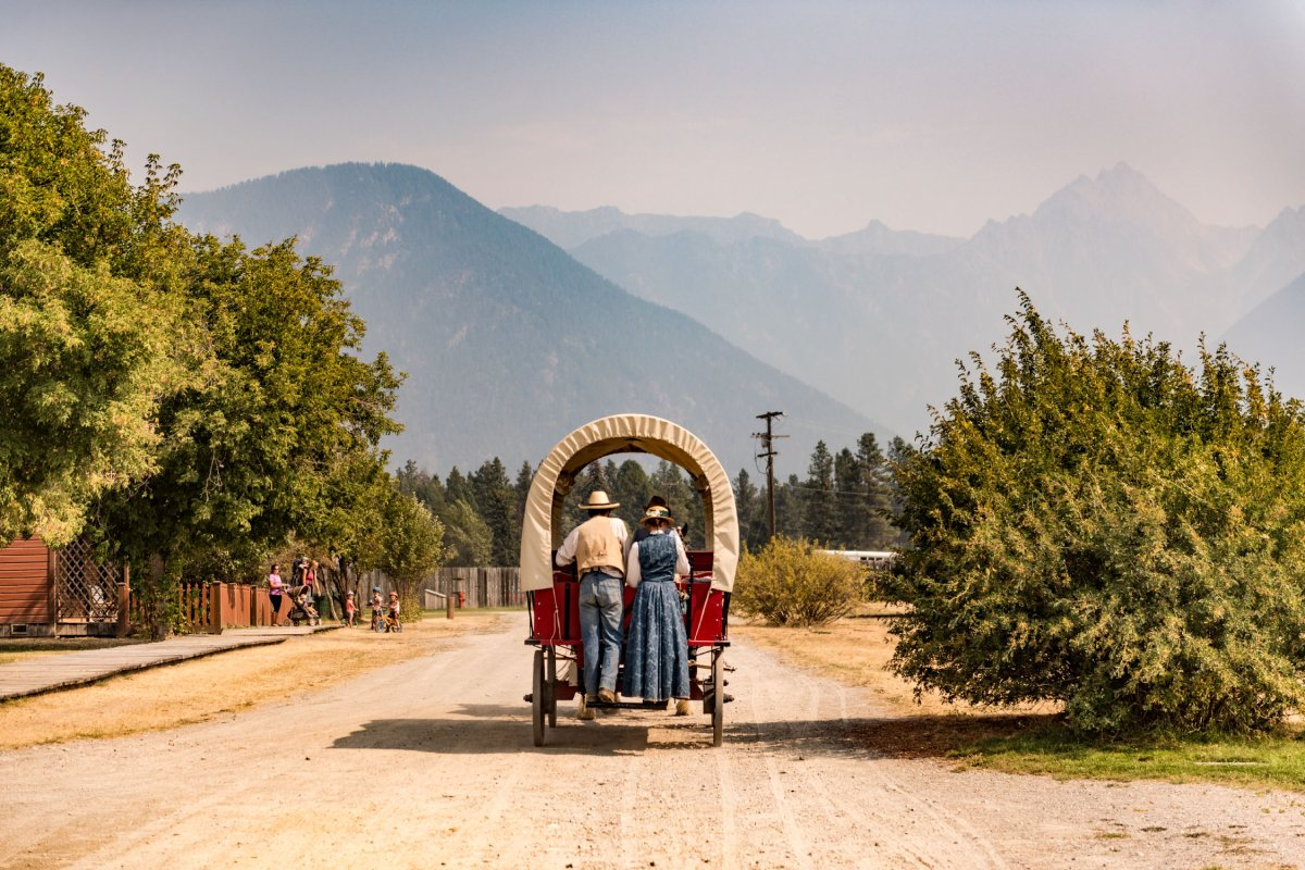 Actors at Fort Steele hitch a ride around the heritage town near Cranbrook, B.C.