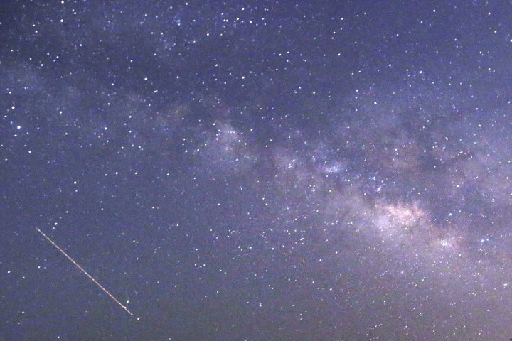 An April 23, 2015 photo of the Lyrids meteors shower.