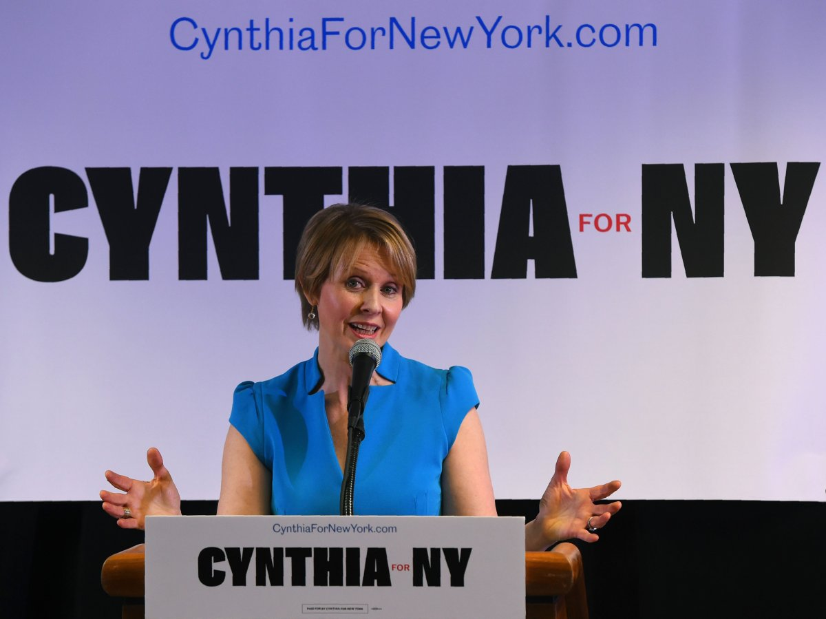 Former 'Sex and the City' star Cynthia Nixon speaks to people at the Bethesda Healing Center in  Brooklyn, New York on March 20, 2018 at her first event since announcing that shes running for governor of New York.