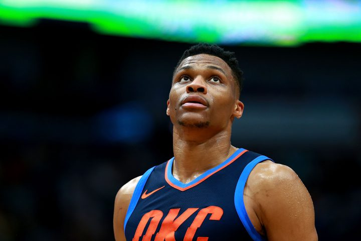 Russell Westbrook of the Oklahoma City Thunder looks on during the first half of a NBA game against the New Orleans Pelicans.