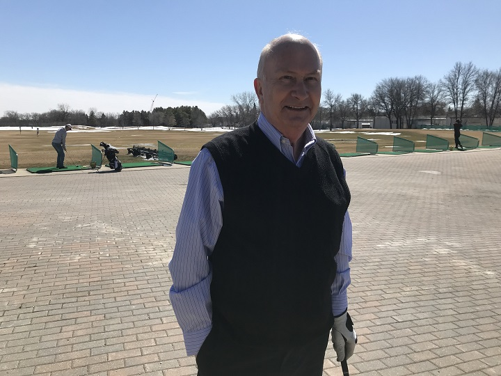 Dick Mulholland golfing at Shooter's Family Golf Centre and Restaurant  on April 16, 2018.