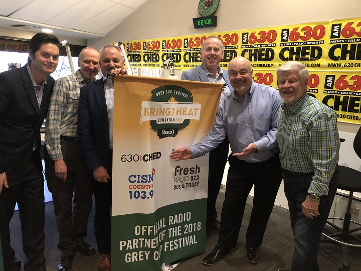 Duane Vinneau, Bruce Bowie, Brad Sparrow, Len Rhodes, Syd Smith and Bryan Hall celebrate the partnership between Corus Radio and the 2018 Grey Cup Festival.
