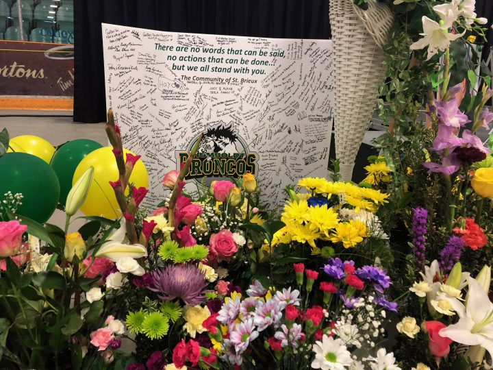 Tribute for the Humboldt Broncos after the vigil on April 8, 2018.