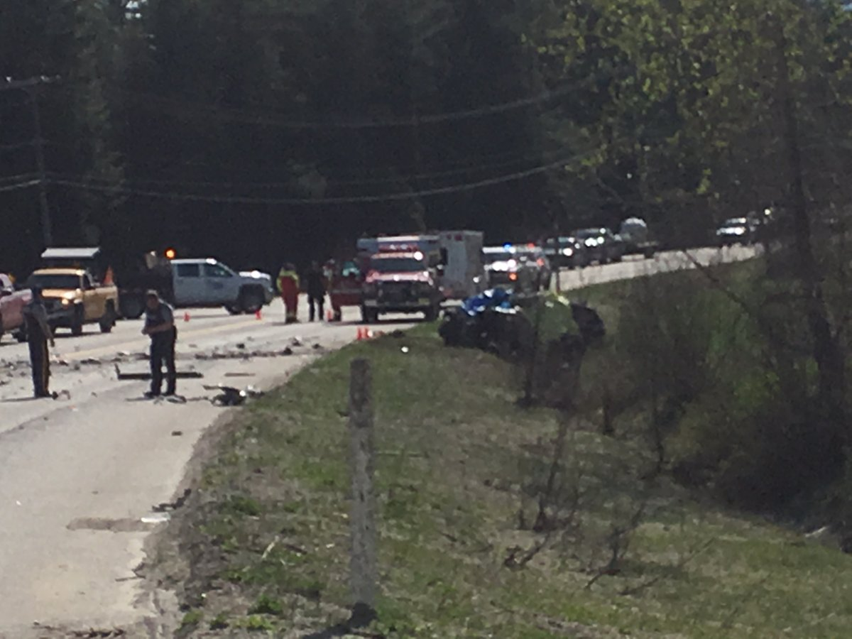 A two vehicle crash Friday afternoon has closed Highway 1 west of Revelstoke.