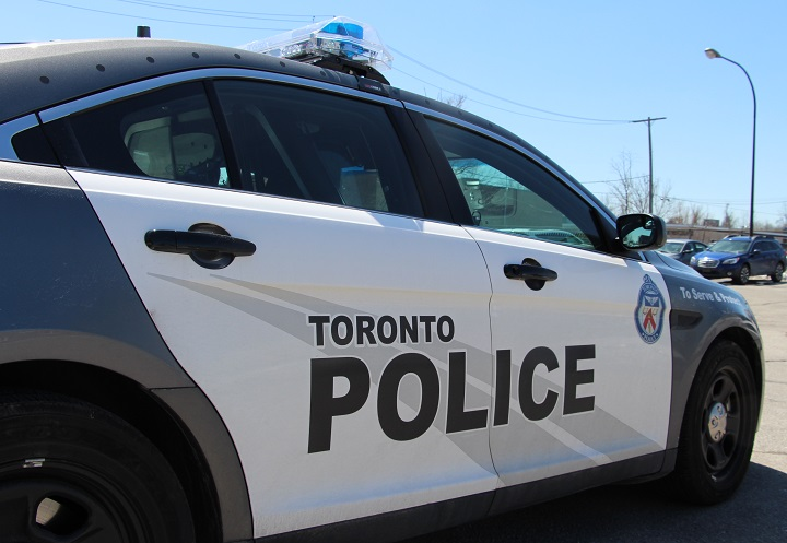 Police say the cars gathered in west Toronto late Saturday.