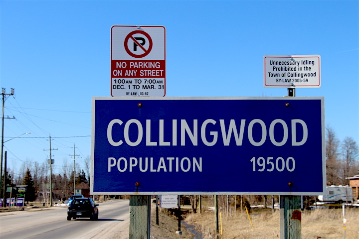 A sign welcoming residents and visitors to Collingwood, Ont.