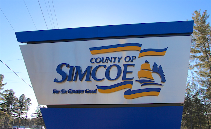 The County of Simcoe administration centre on Highway 26.