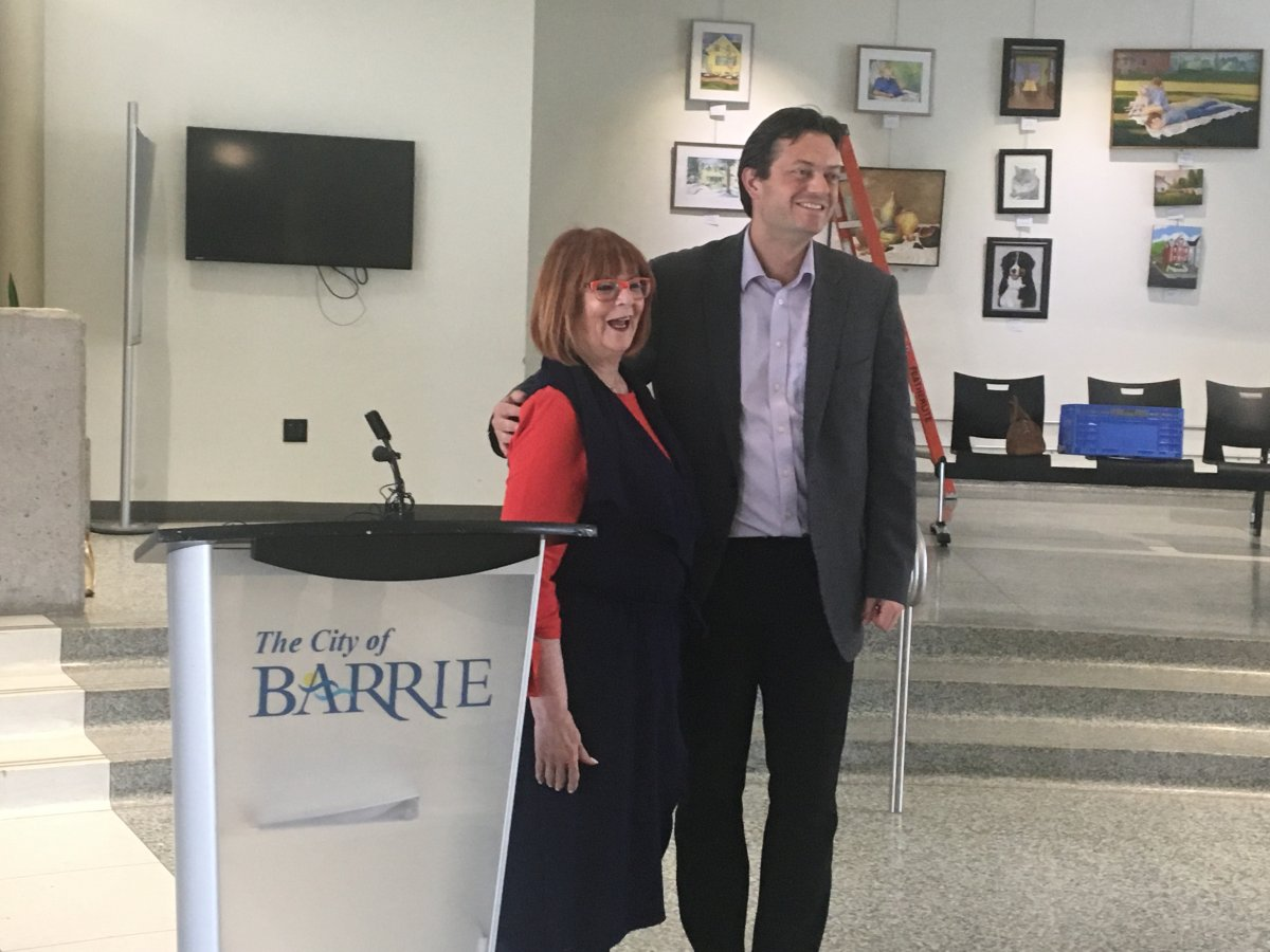MPP for Barrie Ann Hoggarth (left) and Barrie Mayor Jeff Lehman (right), make housing announcement from Barrie's city hall.