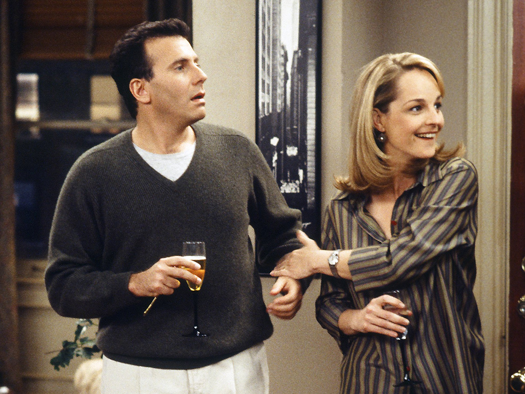 Paul Reiser as Paul Buchman and Helen Hunt as Jamie Stemple Buchman on 'Mad About You.'.