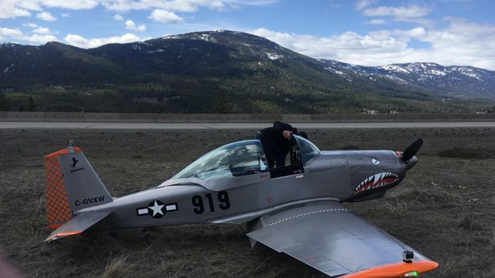 A small airplane made an emergency landing on the Coquihalla Highway south of Merritt on Sunday afternoon.