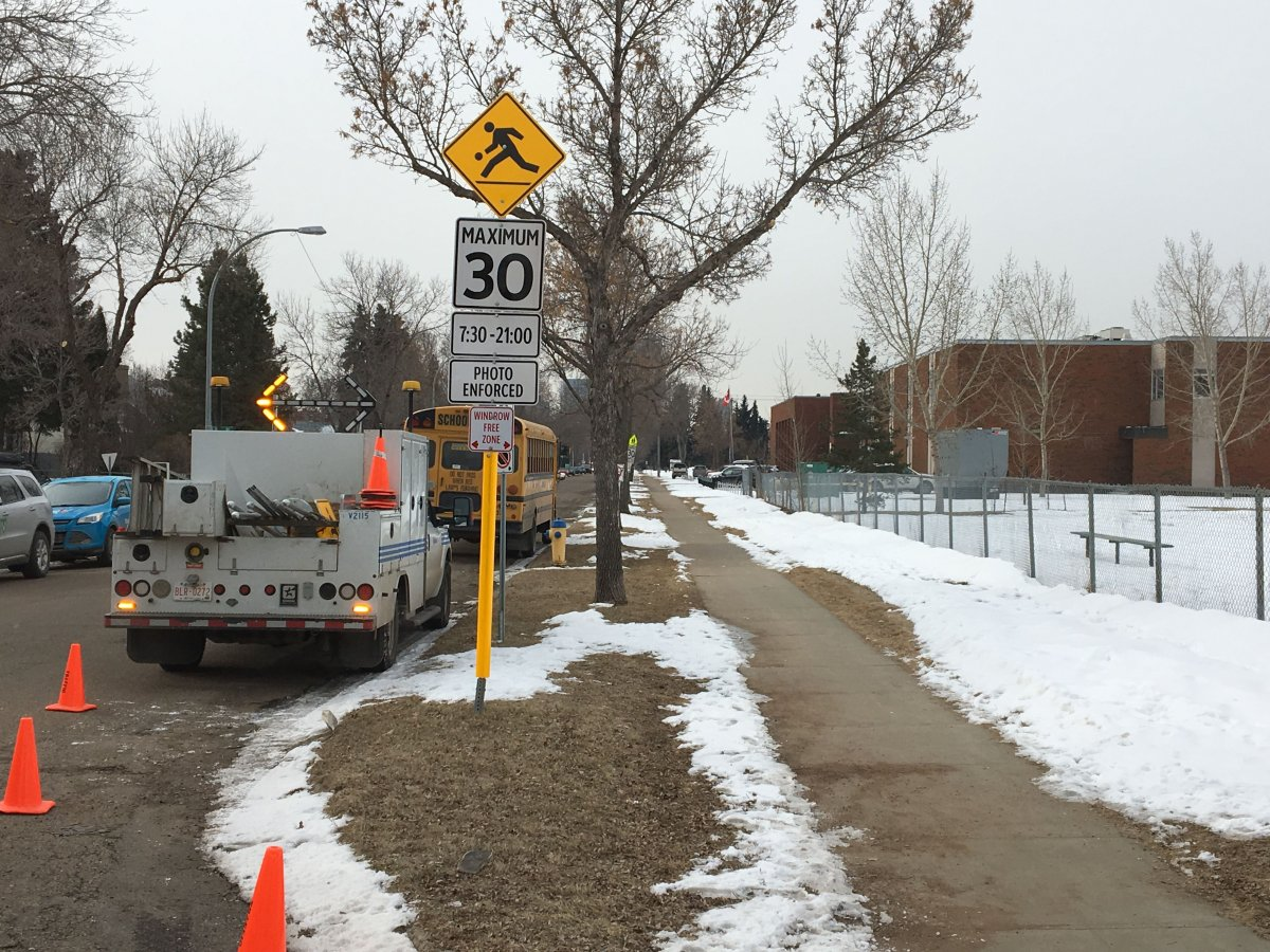 The final school zones are converted to playground zones in Edmonton, Wednesday, April 4, 2018.