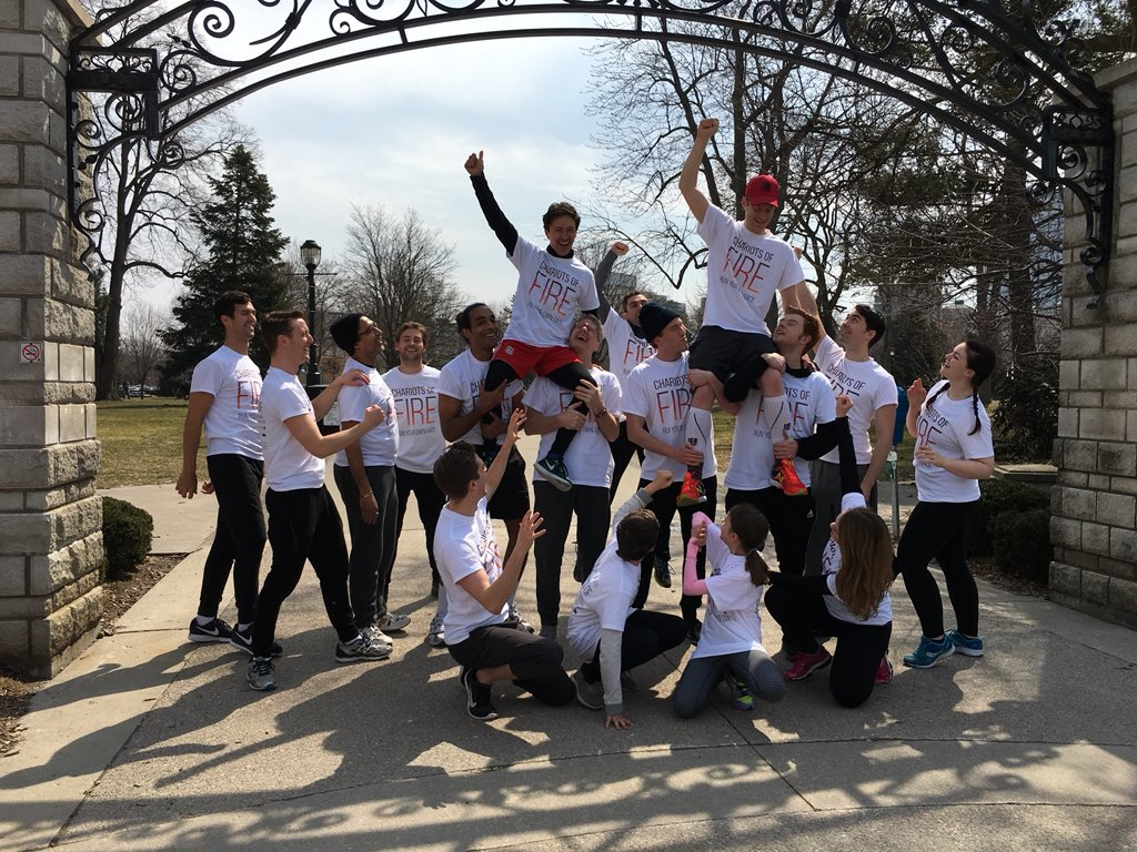 The cast and crew of Chariots of Fire took to Victoria park to promote their play, running from April 20 to May 5.