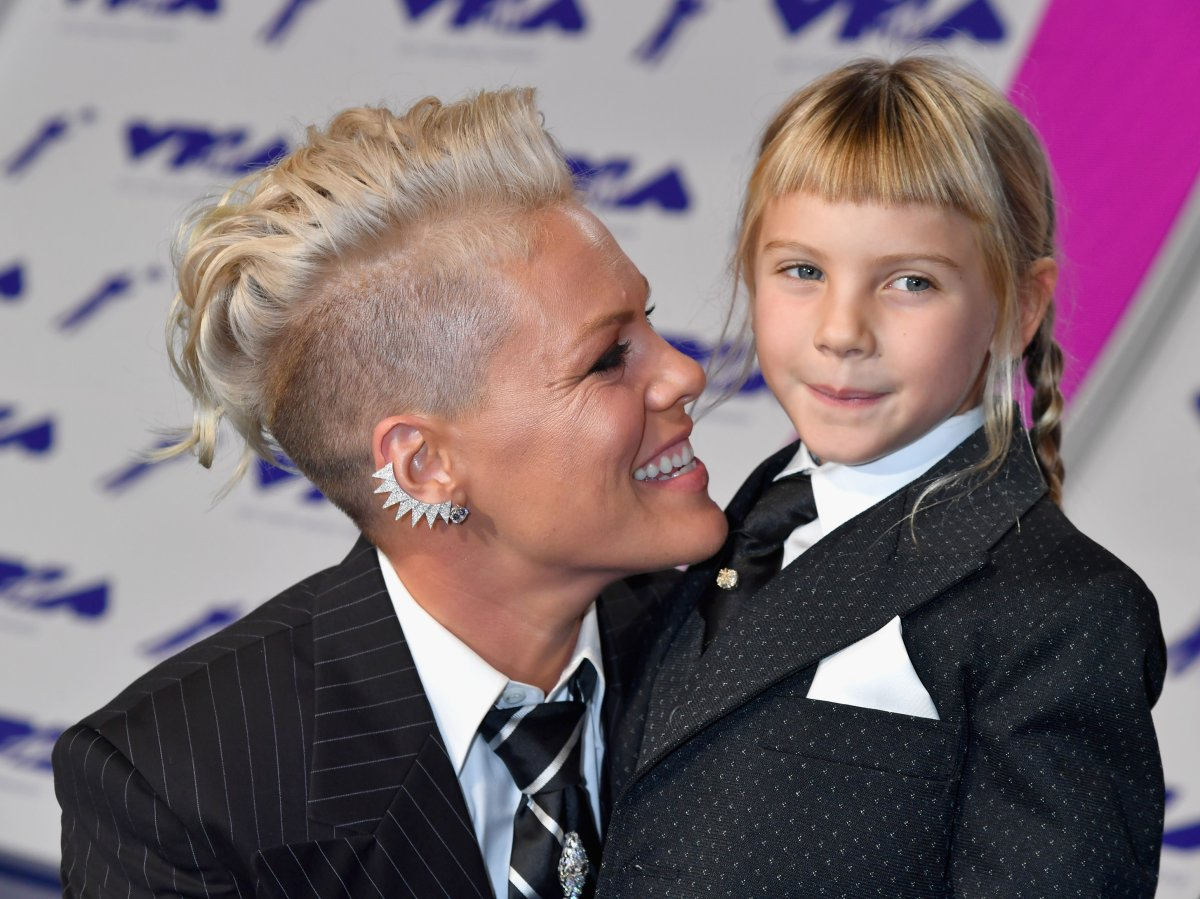 Celebrities like Pink, pictured here with her child Willow Sage Hart at the 2017 MTV Video Music Awards, are vocal about raising their children without gender.