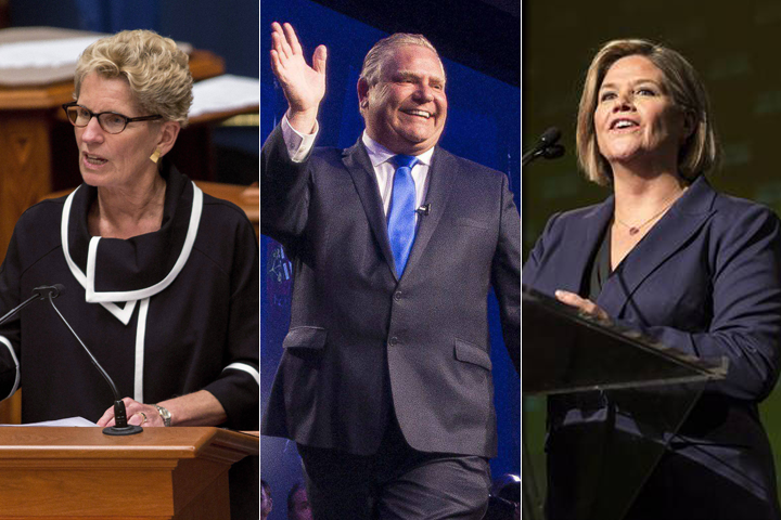 Kathleen Wynne, Doug Ford and Andrea Horwath are seen in a combination photo.