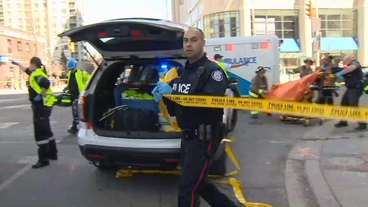 Ten people were killed and 14 injured after a van struck pedestrians in Toronto on Monday but officials say there is no indication it was an act of terrorism.