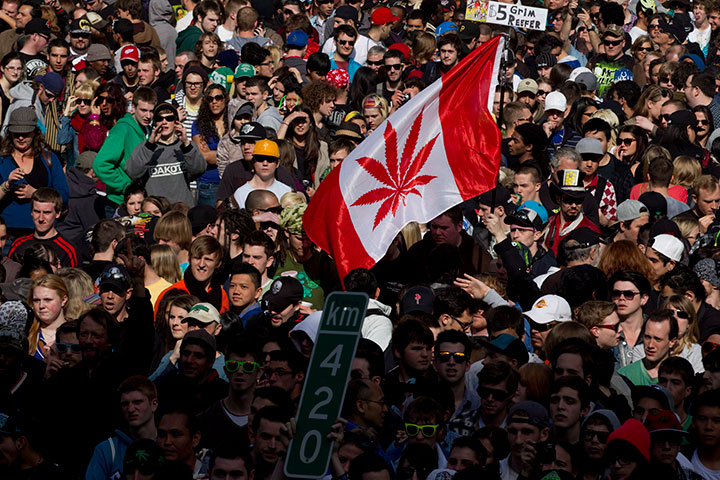 A large number of demonstrators take part in 4/20 in Vancouver, B.C. Friday, April, 20, 2012.