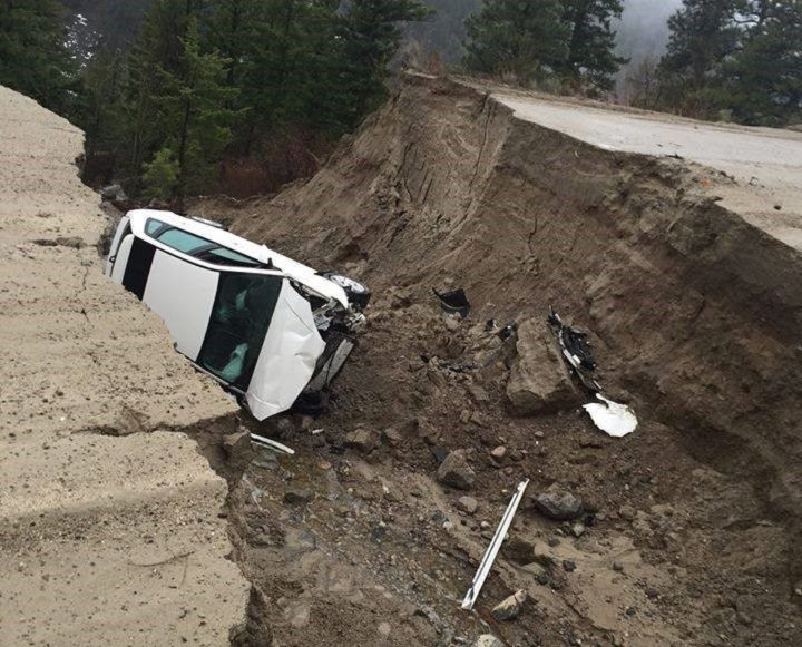 Two people were taken to hospital after their vehicle crashed into a washout the driver did not see.