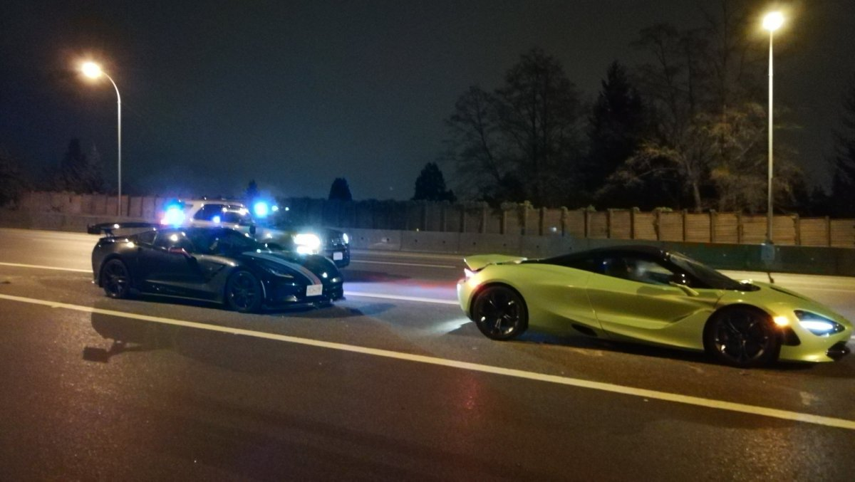 The luxury cars after they were stopped on Highway 1 early Wednesday morning.