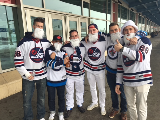Just one of many groups of Winnipeg fans to make it to the game in St. Paul, Minnesota, Sunday.
