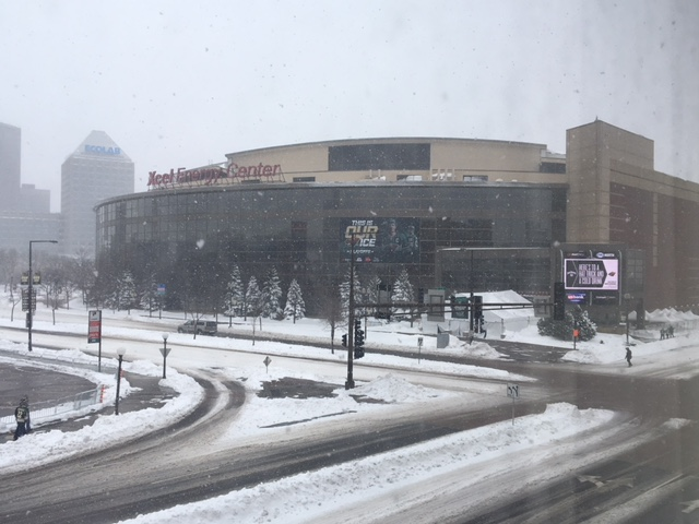 Winnipeggers who made the trip to St. Paul for Game 3 were treated to record snow.