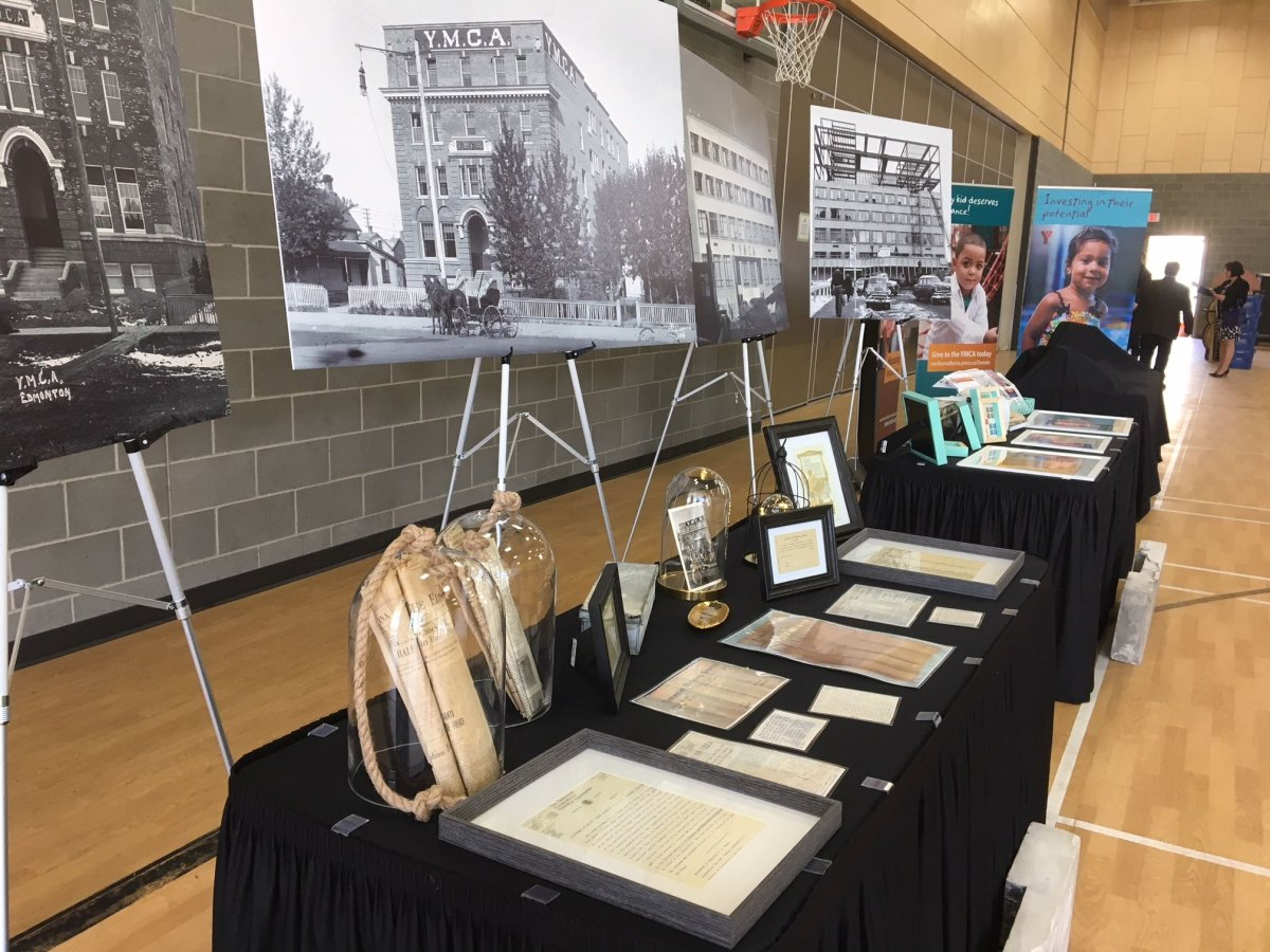 Artifacts from two Edmonton Downtown YMCA capsules are on display, Monday, April 23, 2018.