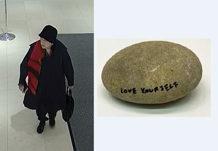 Toronto police say they're looking for a suspect after a rock with an inscription by Yoko Ono was taken from the Gardiner Museum on Friday.
