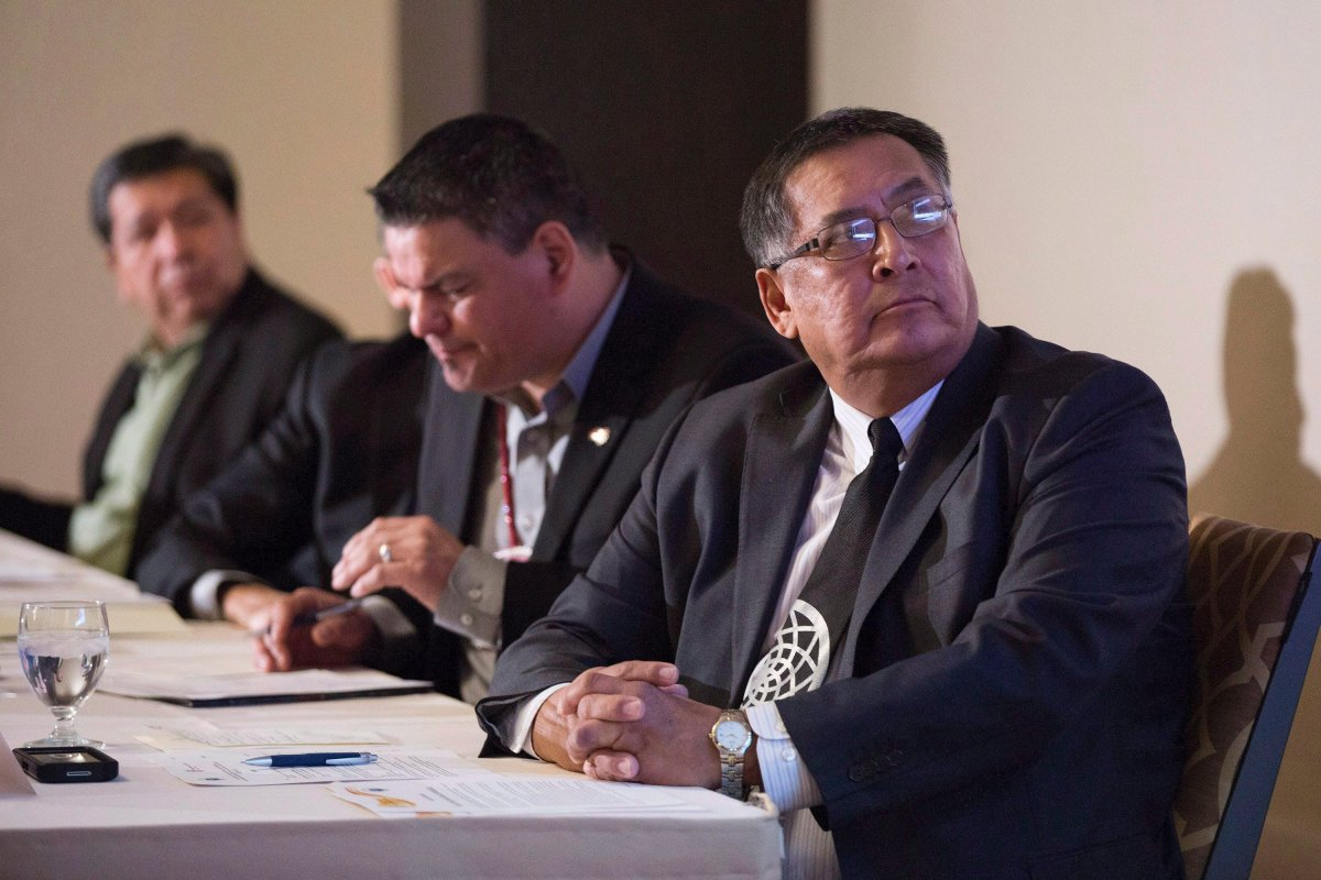 Chief Clifford Bull (right) appears in a 2016 file photo. He is running in Ontario's provincial election under the PC banner.