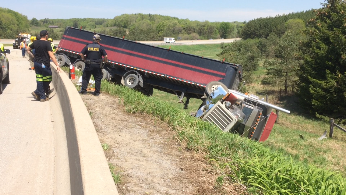 A transport truck crash just south of Peterborough on May 25, 2018.