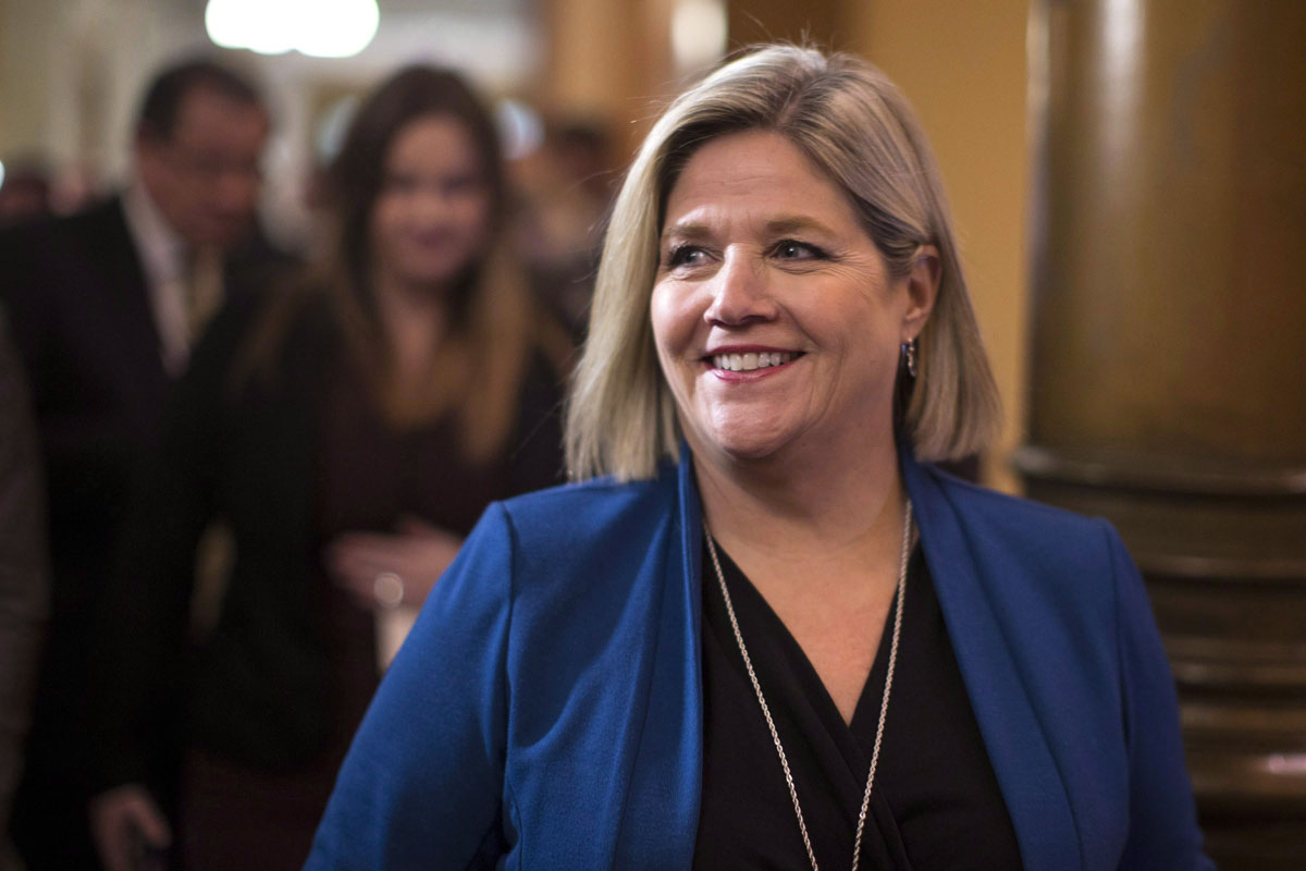 Ontario NDP Leader Andrea Horwath scrums with reporters after the Throne Speech at the Ontario Legislature in Toronto on March 19, 2018.