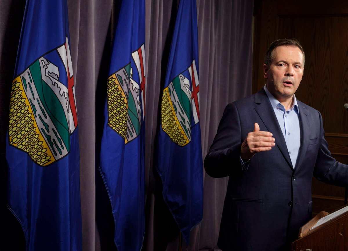 Jason Kenney speaks to the media at his first convention as leader of the United Conservative Party in Red Deer, Alta., Sunday, May 6, 2018.THE CANADIAN PRESS/Jeff McIntosh.