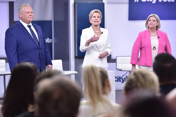 Liberal Leader Kathleen Wynne, centre, Progressive Conservative Leader Doug Ford, left, and NDP Leader Andrea Horwath take part in the Ontario Leaders debate in Toronto. Analyst Barry Kay says the election is currently Ford's to lose, but Horwath could still surprise.