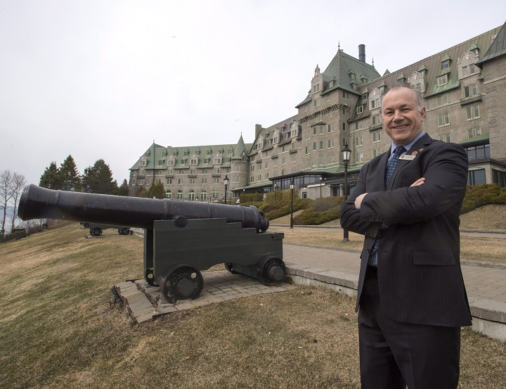 General manager Jean-Jacques Etcheberrigaray is seen in front of Le Manoir Richelieu, site of the upcoming G7 Summit, Wednesday, April 25, 2018 in La Malbaie, Que. The 405-room Manoir Richelieu in La Malbaie will host the 44th annual G7 summit on June 8-9, when the leaders of seven industrialized countries, their spouses and other dignitaries make their way to the idyllic Charlevoix region about 150 kilometres northeast of Quebec City.