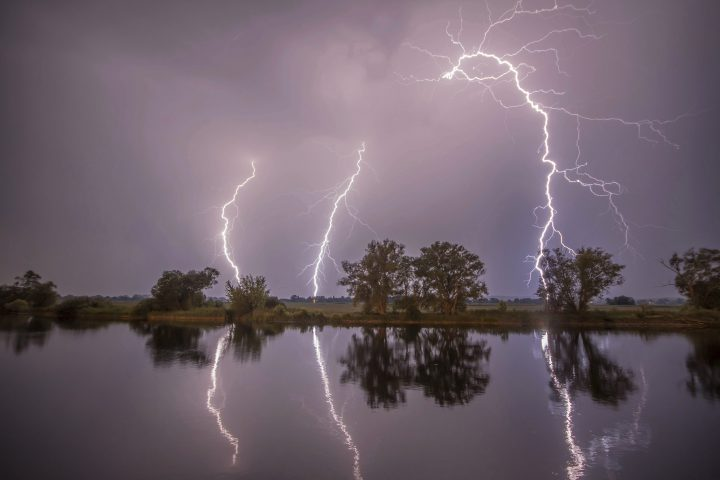 In this May 27, 2018 photo thunderbolts are reflected near Premnitz, eastern Germany.