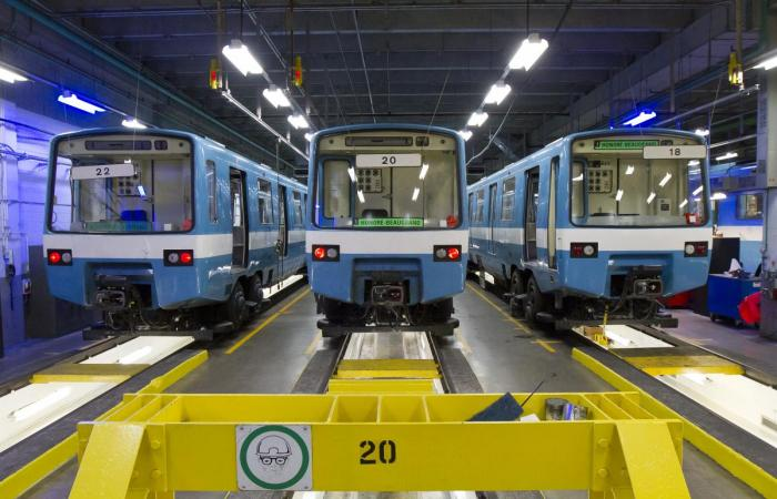 MR-63 trains in a service station of Montreal's Transit Corporation (STM).