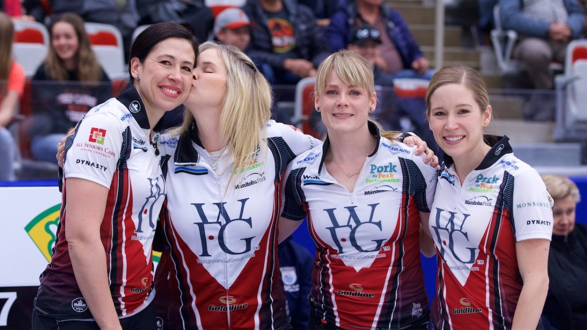 (r-l) Jill Officer, Jennifer Jones, Dawn McEwen and Kaitlyn Lawes, taken at the Grand Slam of Curling in Calgary in April.