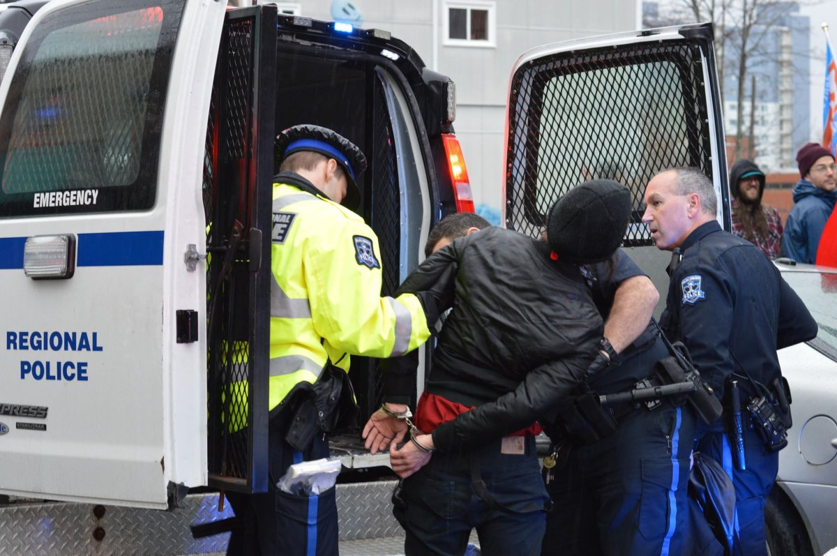 Two people taking part in a May Day rally in Halifax were arrested for breach of the peace on Tuesday evening and later released.