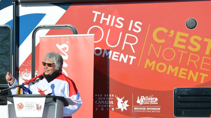 Lyn Radford speaking at the announcement of the 2019 Canada Winter Games.