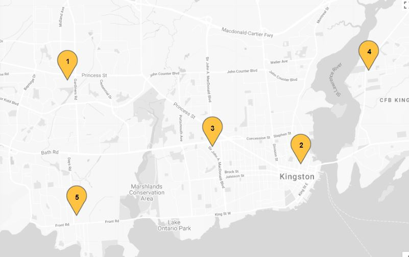 A map shows the five locations where Kingstonians can go to vote in advance for the provincial election.