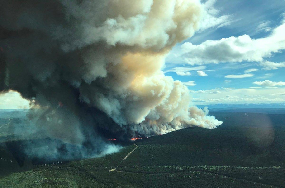 A wildfire burning near the Alaska Highway.