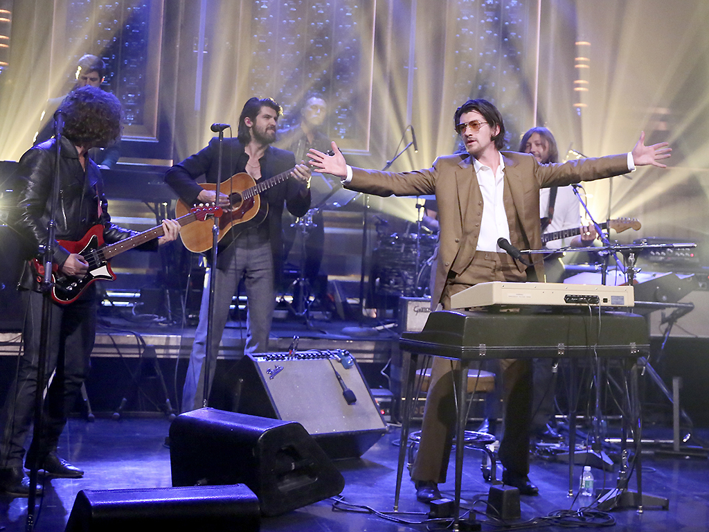 Nick O'Malley, Alex Turner, Matt Helders and Jamie Cook of the Arctic Monkeys perform 'Four Out of Five' on May 10, 2018 on 'Jimmy Fallon.'.