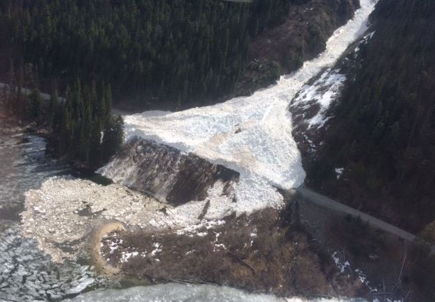 An aerial view of the avalanche that closed Highway 99.