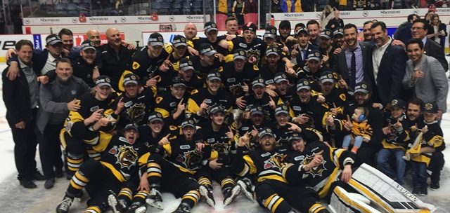 The Hamilton Bulldogs celebrate the franchise's first Ontario Hockey League championship.