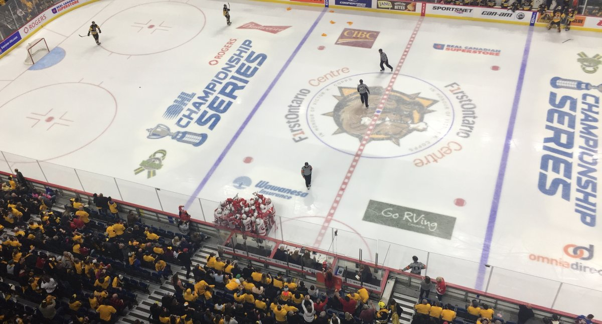 The Sault Ste. Marie Greyhounds beat the Hamilton Bulldogs 3-2 in overtime Wednesday night to even the OHL Final 2-2.